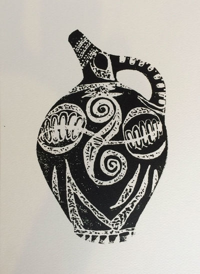 Block Mono Print - Cretan Pot by Diana Shepherd